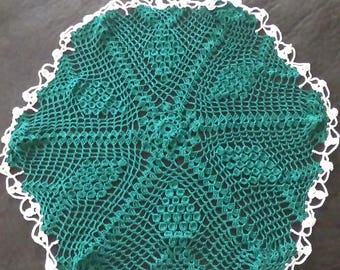 Forest Green Doily with Cream Border...Handmade...Size Large...Great For The Holidays