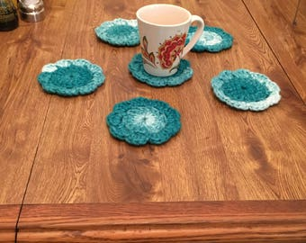 Teal crochet coasters