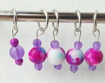 5 stitch markers, fits up to a size U.S. 7 needle, purple stitch marker , pink bead, knitting notion