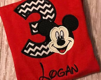 Mickey Mouse Embroidered Birthday Shirt **red**