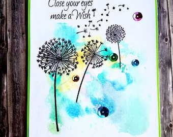 Watercolour dandelion clocks card