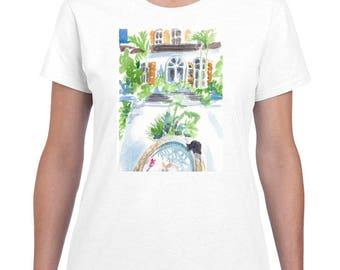 Key West House Courtyard By Paintsarahpaint - Ladies Shirt