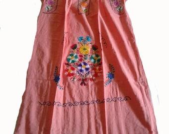 Medium - Peach (Regular Length/Below Knee) Mexican Dress #R100