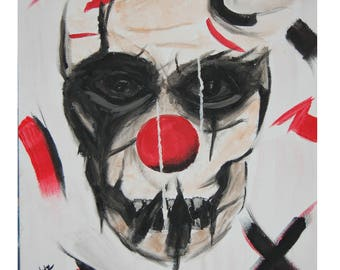 Original watercolor, scary clown, 11x14 made on canvas panel