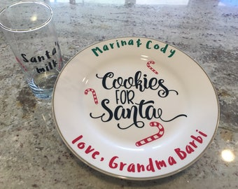Cookies For Santa Christmas Plate & Milk Glass- Personalized