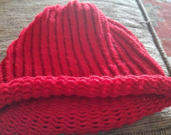 Red child size knit hat