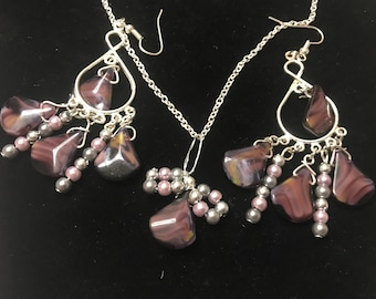 Purple Bow Necklace and Chandelier Earring Set