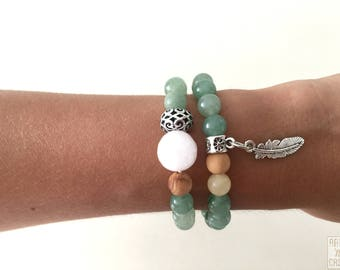 2 bracelets green aventurine beads, white jade, agate and wood and pieces of silver