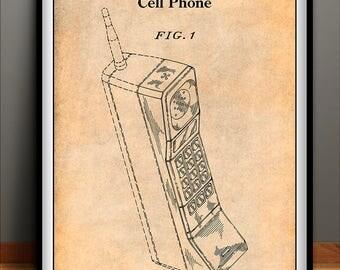 1988 Motorola Cell Phone Patent Print, Motorola Cell Phone, Cellular Phone, Cell Phone Art, Telephone Patent, Telephone Art, Patent Print