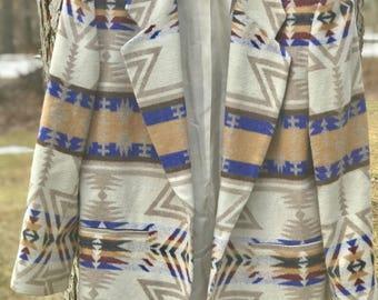 vintage aztec/western italian fabric wool blazer/jacket/coat made in the usa size large