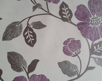 Vintage purple, silver and grey large flower print wallpaper