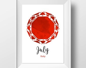 July Birthday - Birthstone Art - Ruby Print - Ruby Wall Art - Birthday Gift - Birthstone Print - Gemstone Print - Gemstone Wall Art