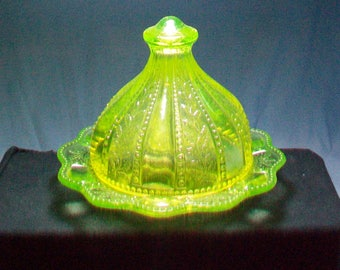Vaseline Glass Cheese Dish