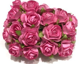 Deep Pink Open Mulberry Paper Roses Or077