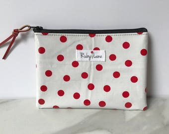 Mini Oilcloth pouch / Mini pouch / Zipper pouch / Gift idea for her / Red polka dot