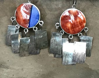 Vintage Mexican Jewelry, Consuelo Campos, Southwest Jewelry, Spiny Oyster Earrings, Dangle Earrings, Native American Earrings, Boho Jewelry