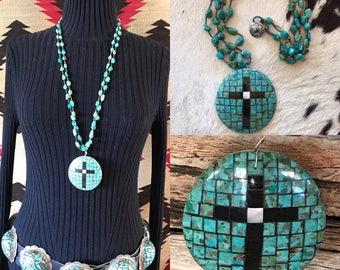 Turquoise Cross Pendant Necklace, Native American Jewelry, Turquoise Necklace, Santo Domingo Necklace, Old Pawn, Southwest, Western Jewelry
