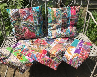 Indian Kantha Patchwork Cushion Cover