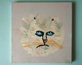 DAISY Melancholy Cat Original Painting on Canvas