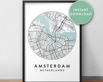 Amsterdam City Print Instant Download, Street Map Art, Amsterdam Map Print, City Map Wall Art, Amsterdam Map, Travel Poster, Holland,