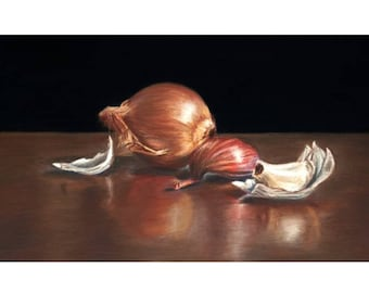 Onion and Garlic Pastel Drawing Print