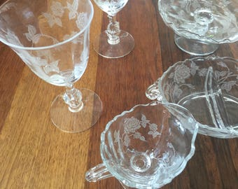 Vintage Etched Glass Crystal