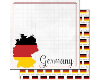 """Germany Set of 9 Custom Selected 12"""" x 12"""" Scrapbook Papers Travel Vacation Themed Papers - Our Favorites"""