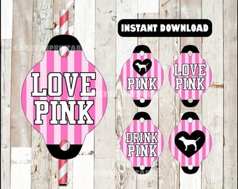 80% OFF Victorias Secret Pink Straw tags instant download , Victorias Secret Straw tags, Victorias Secret party straw tags