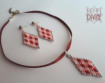 Handmade Set Ethno wit Traditional Bulgarian embroidery motives by Arta's Divine handmade jewelry