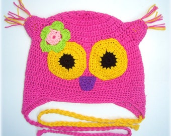 Baby girl owl hat,crochet hat,cotton hat ,pink hat