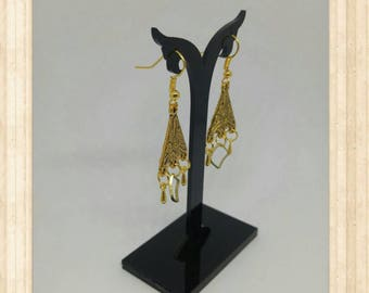 """Golden ethnic Chandelier"" earrings"