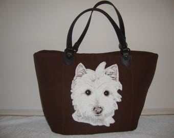 Westie , Terrier, Bag, Handbag,  leather handles, canvas weave 100% Polyester, foam interlining, cotton interior lining,  fabric, tote, pets