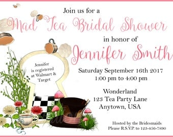 Mad Tea Party Themed Bridal Shower Invite/ Mad Hatter Alice In Wonderland Themed Wedding Shower Invite