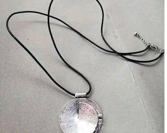 Unique burnished silver pendant necklace