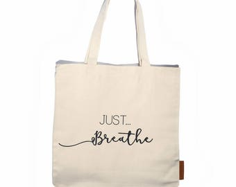 Just breathe 100% cotton, 12oz natural canvas tote bag. Ideal for a market bag, handbag, beach bag, shopping bag, grocery bag, library bag