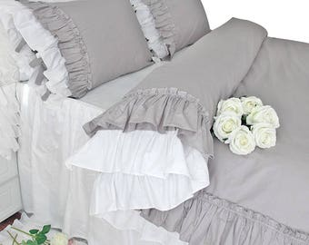 vintage victorian white ruffles duvet cover and shams size
