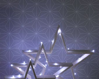 Set of 3 bright stars LED wooden