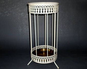Vintage, metal umbrella stand with brass drip tray, probably from the 50s - 60s, gift idea,