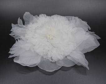 Flower brooch made of organza fabric, ivory color. For wedding dress.
