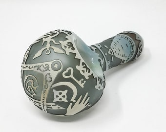 Sandblasted etched hand pipe spoon - Gray Live Free Illuminati