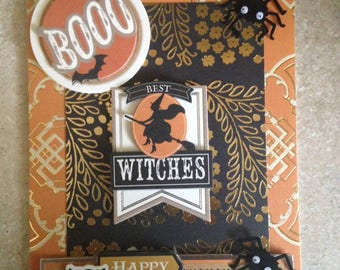 "Halloween Card(Best Witches)/Handmade Card/3D/Features a Large ""Booo"" Greeting and a Witch Surrounded by Spiders and a ""Happy Halloween"" Owl"