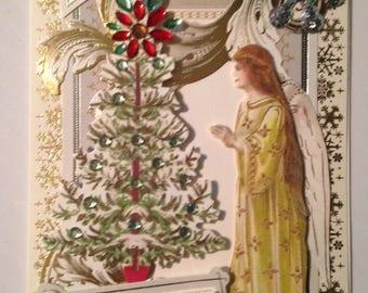 Christmas Card/Handmade/3D/Angel Admiring Christmas Tree/Two Greetings on Front/Red & Green Rhinestone Embellishments