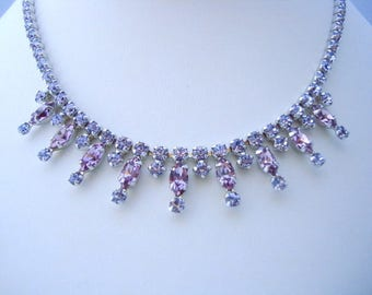 SHERMAN Vintage Signed Violet & Pink Rhinestone Necklace 1960s Era Gorgeous Collectible Jewelry