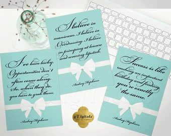 Audrey printable quotes for decor, favors, gifts,  breakfast at tiffany's themed bridal shower party, keepsake, 5x7 Set OF 3