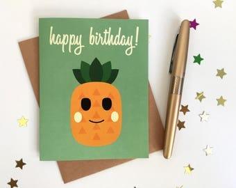 Happy Birthday Card! Cute and Fun Pineapple Birthday Card! Hand-made by Hula Hedgehog