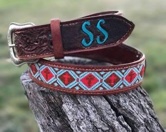 Hand tooled, loom beaded, custom leather belt