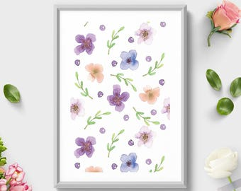 Printable Wall Art, Coral Blue Pattern, Watercolor Print, Pattern Art, Floral Print, Pattern Decoration, Pattern Decoration, Botanical Art