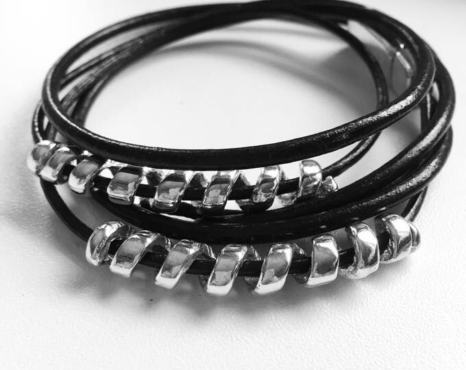 Bracelet Bracelet Leather Black silver magnetic clasp Dqmetaal Wrap bracelet free Shipping within NL