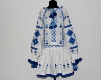 Embroidery Embroidered DRESS boho chic style Vvyshyvanka Fashion Dress Ethnic Tunic Budva in white