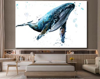 Humpback whale Underwater fauna Whale canvas wall art Whale wall decoration Whale canvas wall art art Whale large canvas wall art wall decor